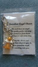 HANDCRAFTED GUARDIAN ANGEL CHARMS KEYRING BAGCHARM TEACHER GIFT YELLOW/GOLD #1