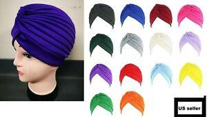 New Indian Muslim Elastic Turban Hat Headband Hijab Chemo Head Wraps Pleated Cap
