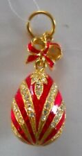 Russian Faberge Egg Pendant Red Silver Enameled with Swarovski Crystals + COA