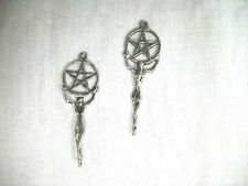 NEW WICCAN PAGAN GODDESS w PENTACLE STAR OVER HEAD DANGLING PEWTER EARRINGS