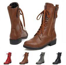 Женские зимние теплые повседневные полусапожки низкий каблук шнурованная обувь 4 цветов 34/43 D