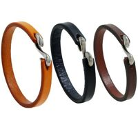 Men Punk Fashion Black Brown Leather Hook Bracelet Wristband Bangles Jewelry D