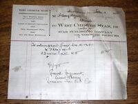 1915 Billhead - West Chester Star - Market & Walnut St West Chester Pennsylvania