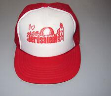 Vintage 80s Trucker Hat Cap Snapback Mesh Jerusalem israel