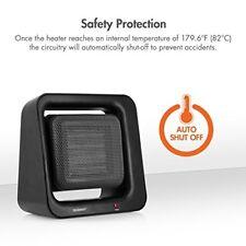 Compact Portable Ceramic Heater Auto Shut Off Space Heater 1500W Warm Bedroom