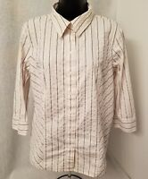Apostrophe Womens White Gold Black Striped Button Down Shirt Top Blouse Size L