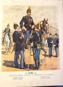 Lot of 3 US Army Uniform print sets by HA Ogden, Indian Wars era, printed 1960