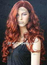 EXTRA LONG Curls Copper Red Side Skin top WIGS JSOB 130