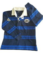 Bran New Gap Kids Boys Striped Navy Blue L 10  Long Sleeve Polo G28 Gran Prix