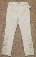 FREE PEOPLE SIZE 28 IVORY OFF WHITE CUTWORK CIGARETTE JEANS HIGH RISE CUT OUTS