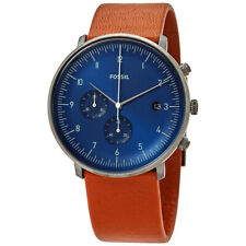 Fossil Mens FS5486 Chase Watch Brown Leather Strap Blue Dial Watch