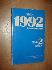 1992 FORD TRUCK SPECIFICATIONS MANUAL ORIGINAL BOOK F150 F250 SUPER DUTY & MORE