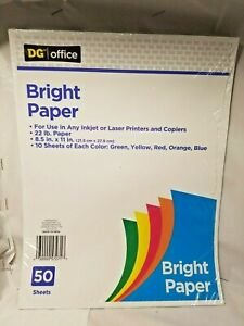 22lb. multiple color bright paper for inkjet or laser printers and copiers. 8 1/