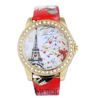 Women's Fashion Watch Crystal Eiffel Tower PU Leather Analog Quartz Wrist Watch