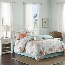 Madison Park Pebble Beach King Size Bed Comforter Set Bed in A Bag - Coral Te.