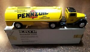 1992 Ertl 1937 Ford Truck Pennzoil Tanker #2155UO Locking Coin Bank