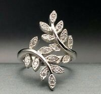 Art Deco Crystal Rhinestone Wrap Around Leaf Silver-tone Cocktail Ring Size 9