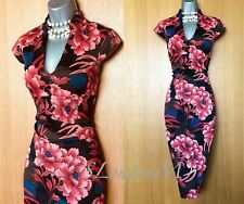 Enchanting UK 14 KAREN MILLEN Oriental Floral Cocktail Wiggle Pencil Dress EU 42
