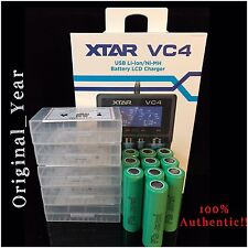 10SAMSUNG 25R INR18650  RECHARGEABLE BATTERY 35A DISCHARGE 3.7 +XTAR VC4 Charger