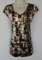 St. John 8 top blouse brown ivory orange snakeskin EUC