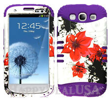 KoolKase Hybrid Silicone Cover Case for Samsung Galaxy S3 - Red Flower