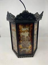 Antique 6 Panel Glass Castle Motif And Names Hanging Light Lamp Chandelier Rare