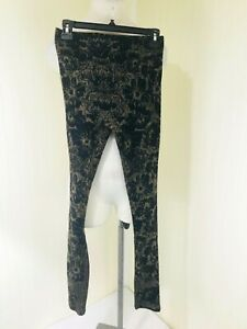 Free People Leggins Black With Gold Floral Print Women's Size XS
