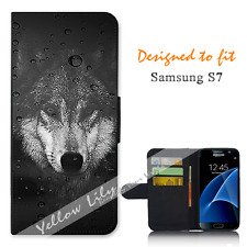 Samsung Galaxy S7 Wallet Flip Phone Case Cover My Wolf Friend Y00766