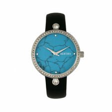 Bertha Frances Marble Dial Leather-Band Watch - Black/Cerulean