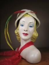 New listing Vintage 1950s 1960s Beige Fur Lampshade Hat w Tri-Color Feathers Renoir N4