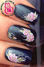 NAIL ART WRAPS WATER TRANSFERS STICKERS DECALS SET PINK ROSES FLOWERS #273
