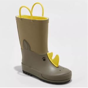 Cat & Jack Toddler Boys Benson Animal Icon Rain Boots Rhino/Dino Green US 11 NWT