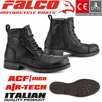 FALCO Lederstiefel KASPAR schwarz Motorrad Schuhe CE Air-Tech Ventilationsfutter