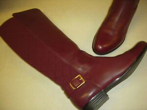 Isaac Mizrahi Tally Leather Med. Calf Riding Boots Womens 5.5 M Medium Wine Red~