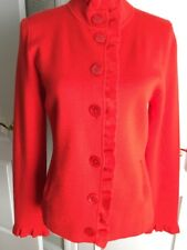 SEMANTIKS red KNIT JACKET BLAZER sz L button front/ruffles at neck and front