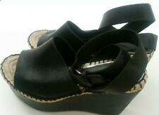 palomitas womens black leather espadrilles size 5 38 sandals high heel wedge