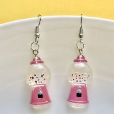 Cute Miniature Pink Gum ball Machine Lolly /  Fun Dangle Earrings / Festival