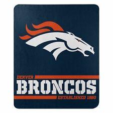 """New Denver Broncos Nfl Split Wide Fleece Throw Blanket Large Size 50""""x60"""""""