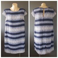 TOKITO Ladies Blue Multi Print Capped Sleeve Dress Size 12