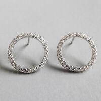 Solid 925 Sterling Silver Micro Zircon Circle Stud Earrings for Women Jewelry
