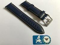 Leather Strap for Fossil Dark Blue 22mm with Cream Stitching FS1