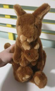 KANGAROO PLUSH TOY MELBA MINKPLUSH WITH BABY JOEY 32CM AUSTRALIAN ANIMAL