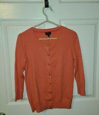 NWT ORG $62 Talbots Petite Sz S Coral Pima Cotton Button Up Cardigan