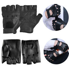 Men Half Finger Biker Driving Faux Leather Gloves Black Punk Fingerless Gloves