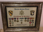 U.S. ARMY CERTIFICATE OF SERVICE / SHADOW BOX PRINT / W-MEDALS