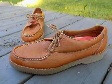 Vintage Hush Puppies men's Casual shoes orange leather Size 8.5 M