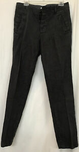 james perse Men's Pants Gray Linen Drawstring Button Fly Straight Size 30 X31