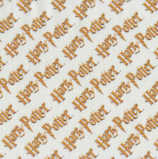 Harry Potter Gold Wording on White Digitally Printed Licensed Fabric FQ or Metre