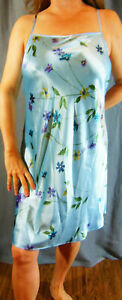 DREAMY!! GILLIGAN & O'MALLEY SEXY BLUE FLORAL PRINT LIQUID SATIN CHEMISE XL NWOT