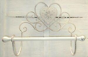 Metal Toilet Loo Roll Holder Distressed Cream Metal Heart Design Wall Mounted